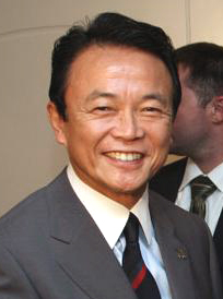 Japanese Prime Minister Taro Aso, photographed...