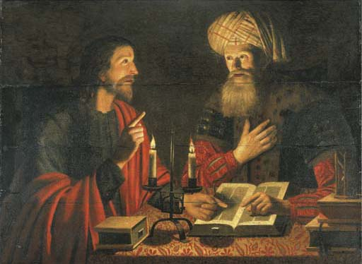 A painting of Nicodemus visiting Jesus at night