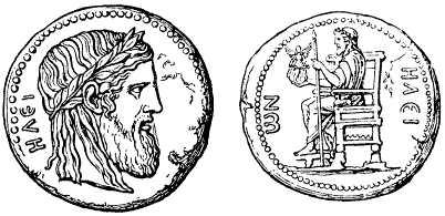 File:Forngrekiska mynt från Elis med bilder efter Fidias staty av Zeus i Olympias Zeustempel.jpg