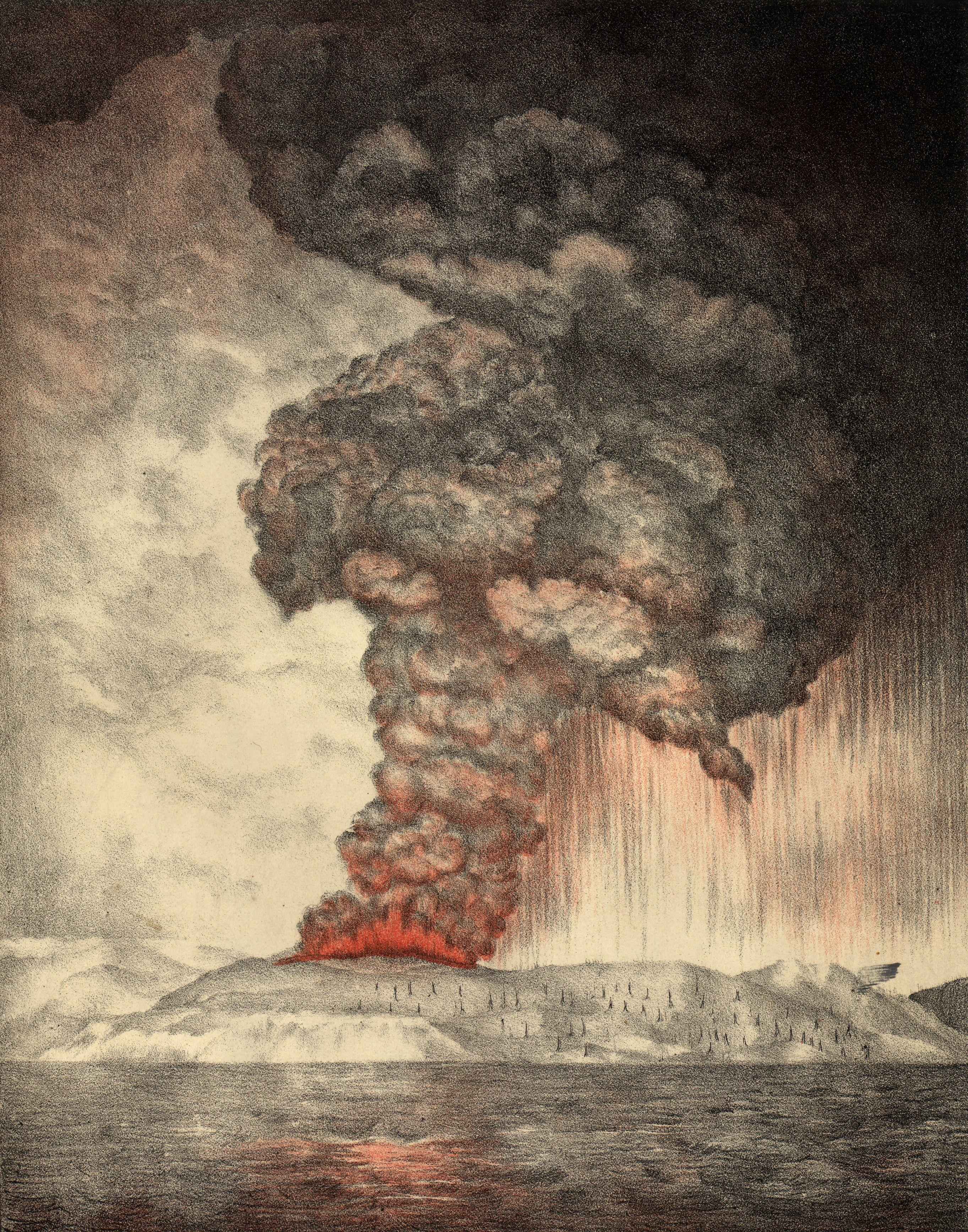 Ett vackert litografi av Krakataus utbrott år 1883