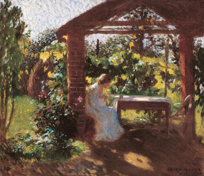 File:Iványi Lady Sitting in the Arbour 1903.jpg