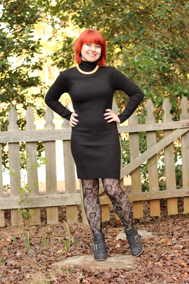 Turtleneck Bodycon Sweater Dress%2C Lace Tights%2C Gold Choker%2C and Ankle Boots Tight Black Lace Top