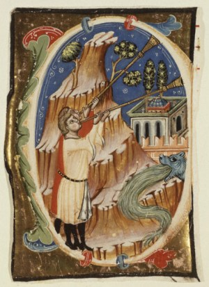 Apocalyptic Scene - illuminated manuscript