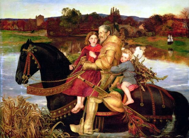 A Dream of the Past: Sir Isumbras at the Ford by John Everett Millais