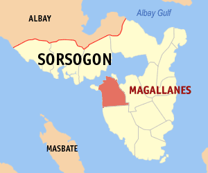 Map of Sorsogon showing the location of Magallanes