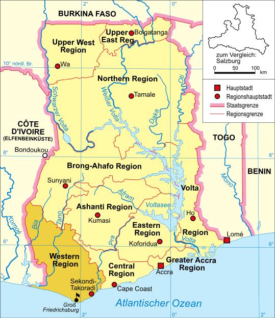 Deutsch: Politische Karte Ghanas (Western Region mit Groß Friedrichsburg hervorgehoben)