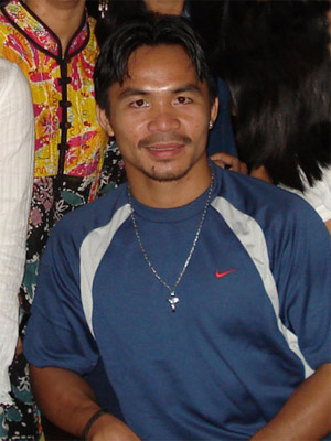 English: Filipino boxer Manny Pacquiao at Wate...