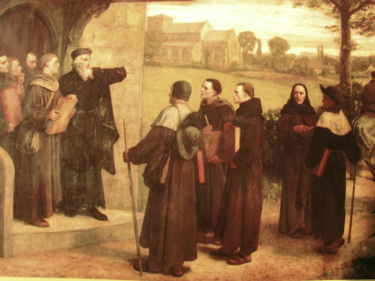 John Wycliffe entrega a tradução da Bíblia aos padres, que ficaram conhecidos como lolardos. (quadro de William Frederick Yeames).
