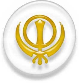 Symbol of Sikhism, white and golden version.