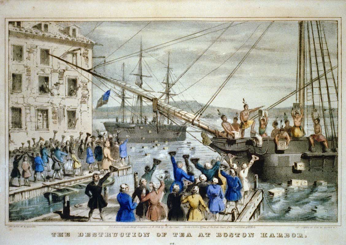 "This iconic 1846 lithograph by Nathaniel Currier was entitled ""The Destruction of Tea at Boston Harbor"""