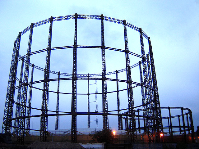 Gasometers at Haggerston Gasworks. View from t...