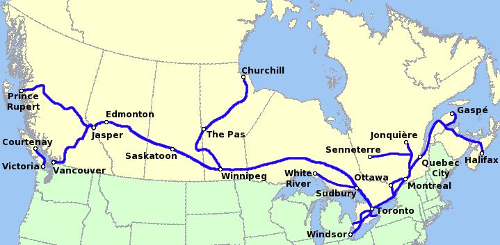 Mapa de lìonra nàiseanta an luchd-siubhail aig VIA Rail Canada