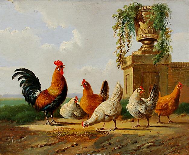 File:Albertus Verhoesen Chickens and park vase.jpg