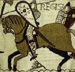 Detail from the Bayeux tapestry, showing a bro...