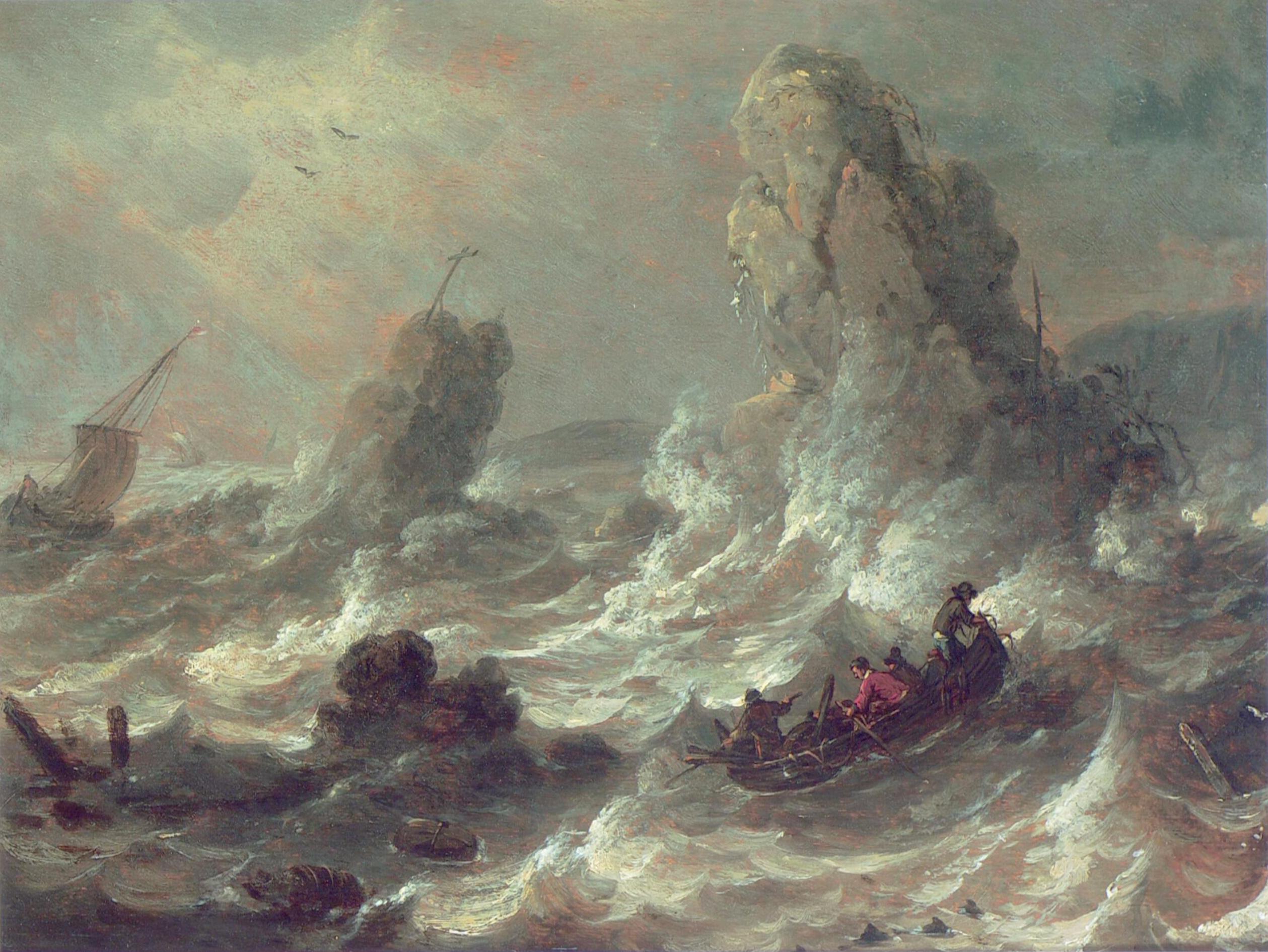 Tempestade marítima com alguns botes e rochedos