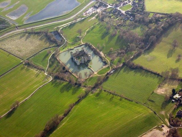 Aerial photo of Bodiam Castle.