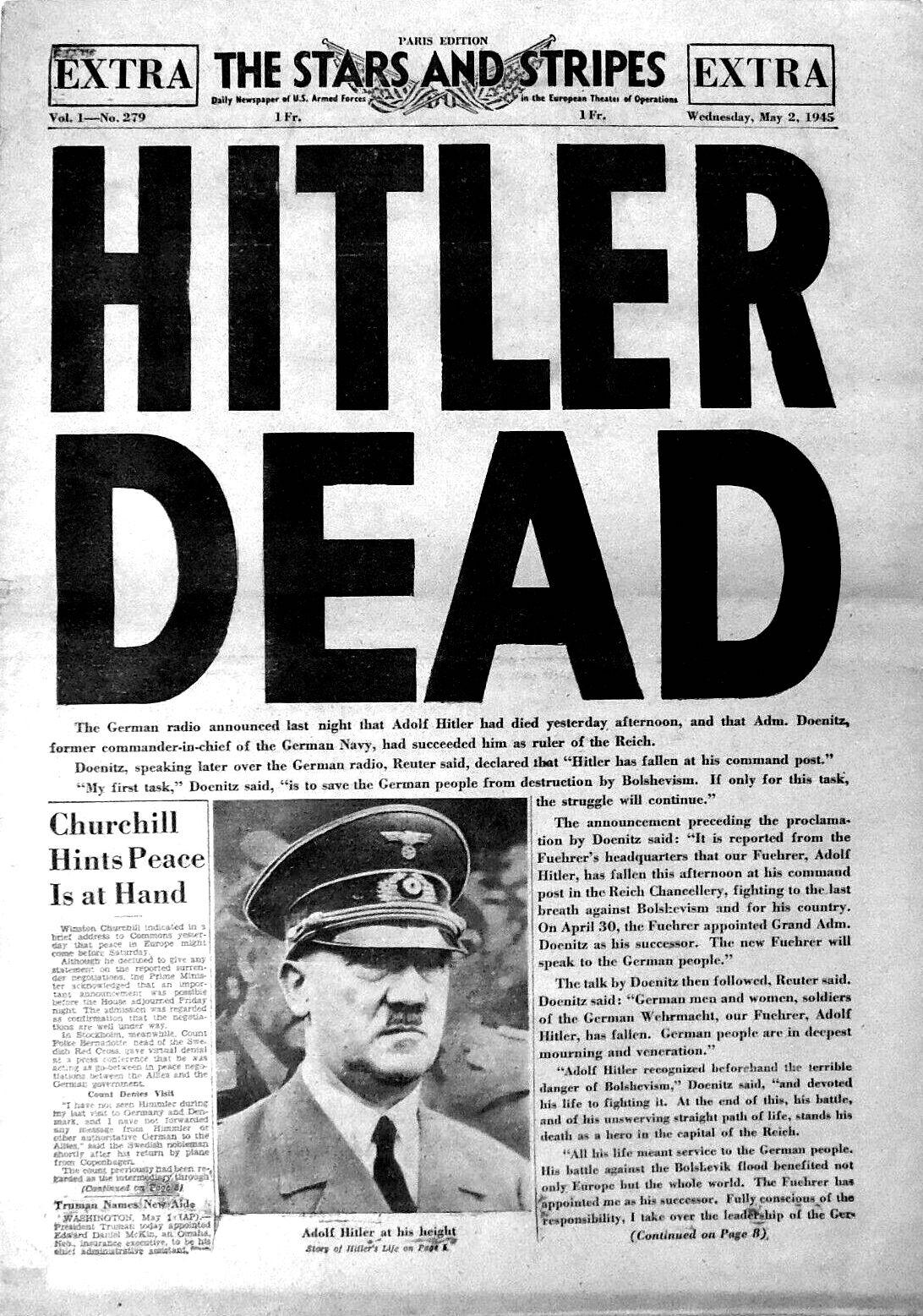 A headline in the U.S. Army newspaper Stars an...