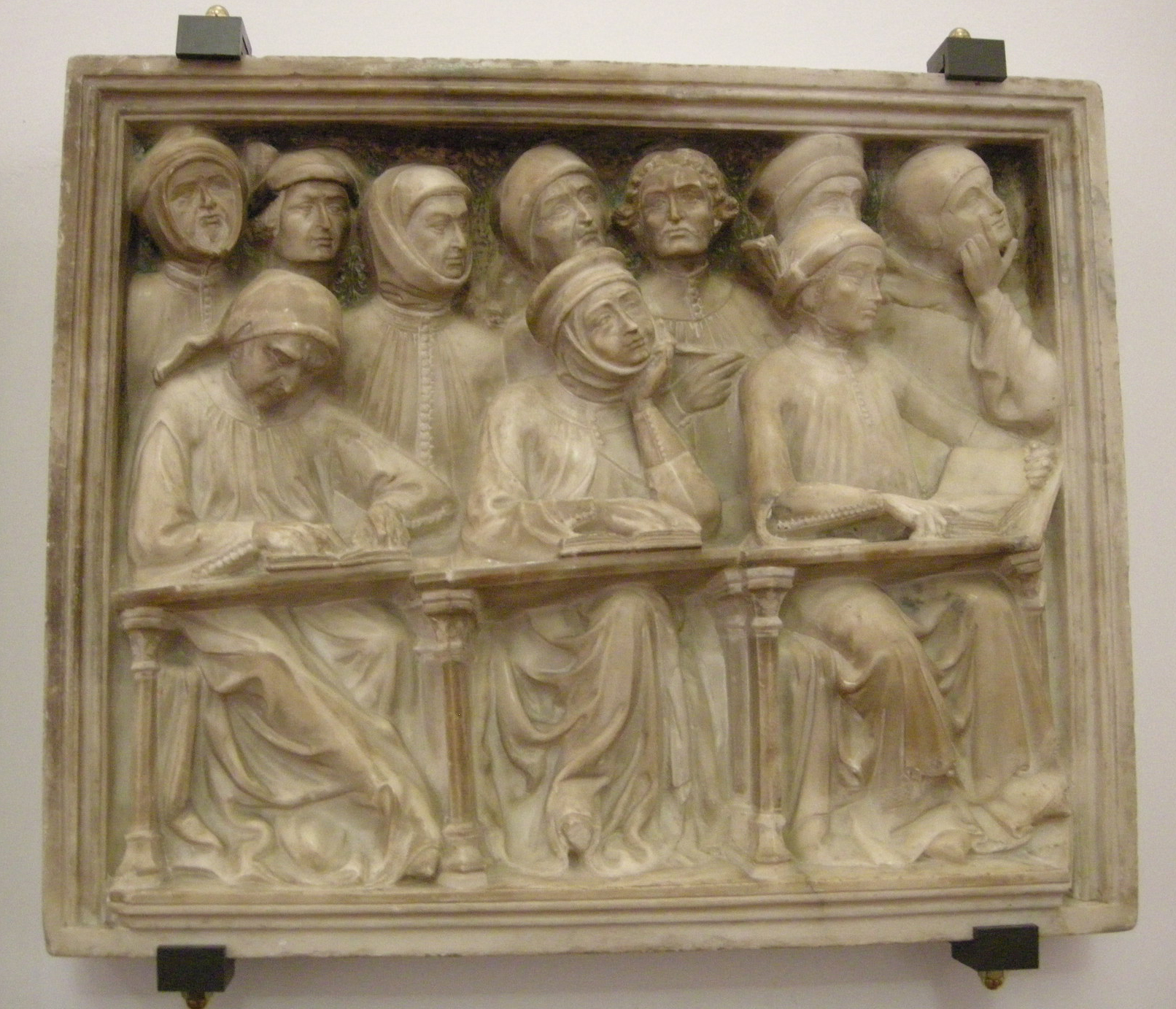 University students: detail of the tomb of Giovanni da Legnano.