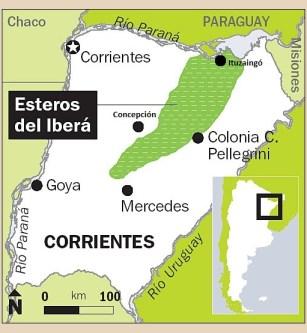 Mapa Esteros Ibera Colonia Pellegrini - ubicacion
