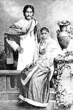 Rabindranath Tagore with wife Mrinalini Devi f...