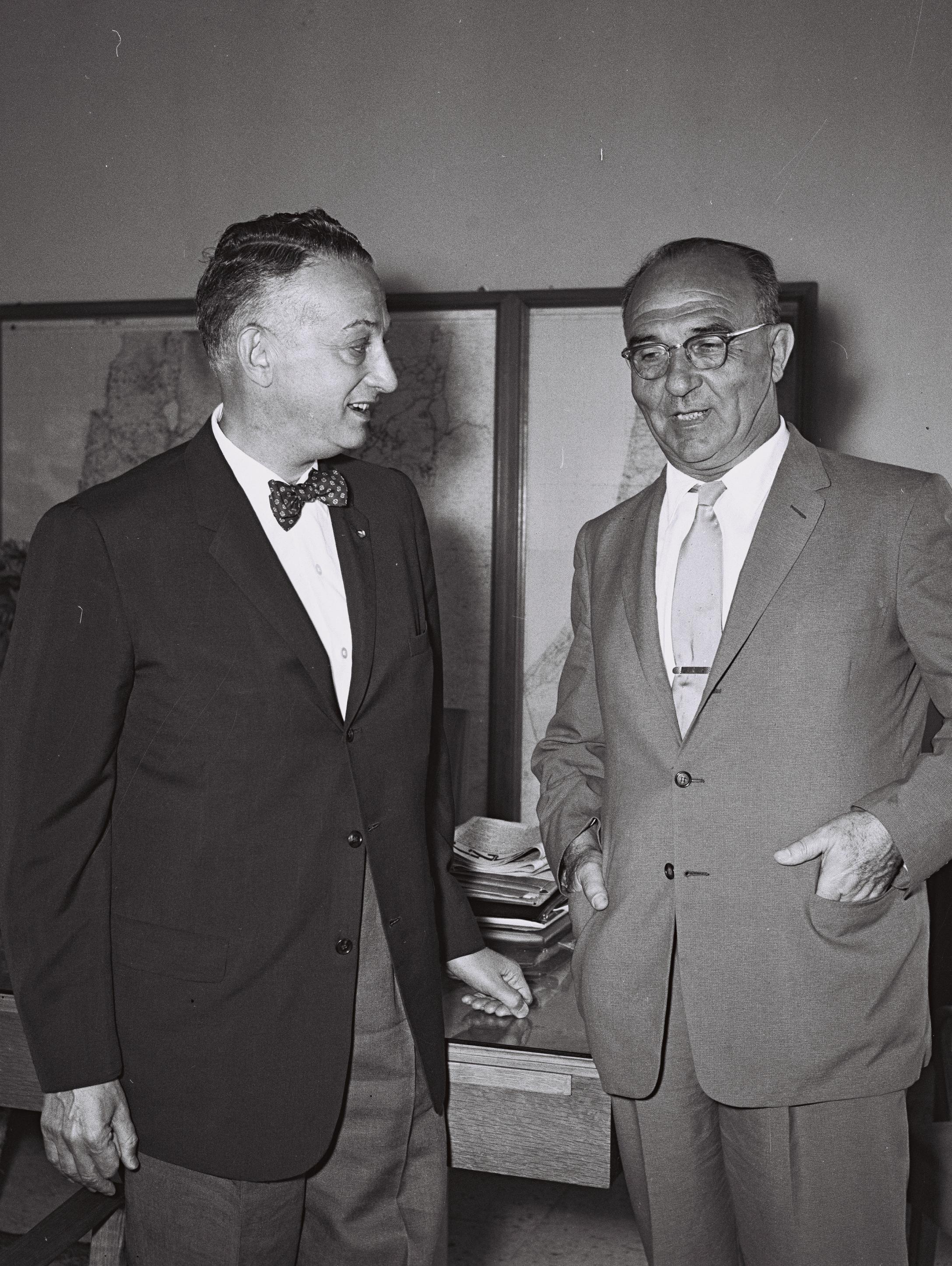 Arthur Levitt Sr. (left), New York State Comptroller, meeting Levi Eshkol, Israel's Finance Minister at the time. August 19, 1959