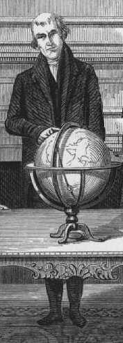 Jedidiah Morse standing with globe