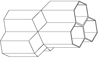 A computer-generated model of two opposing honeycomb layers, showing three cells on one layer fitting together with three cells on the opposing layer