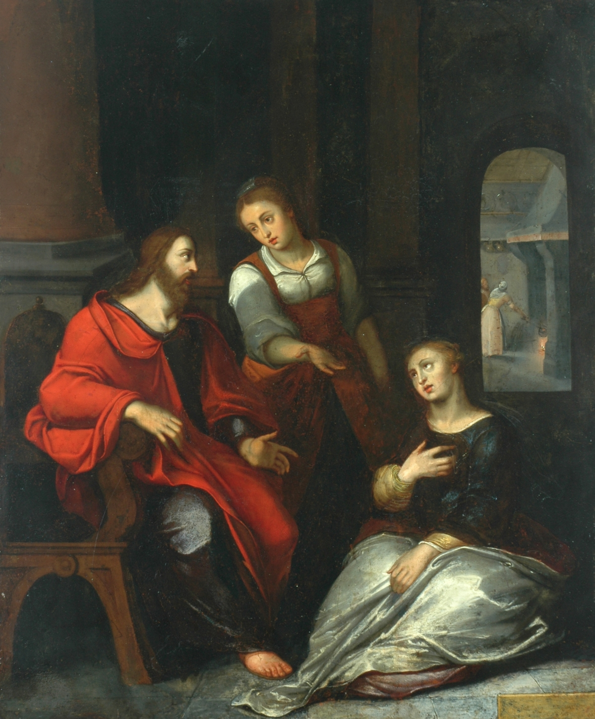 Painting by Otto van Veen - Martha protests with Jesus while Mary sits at his feet.