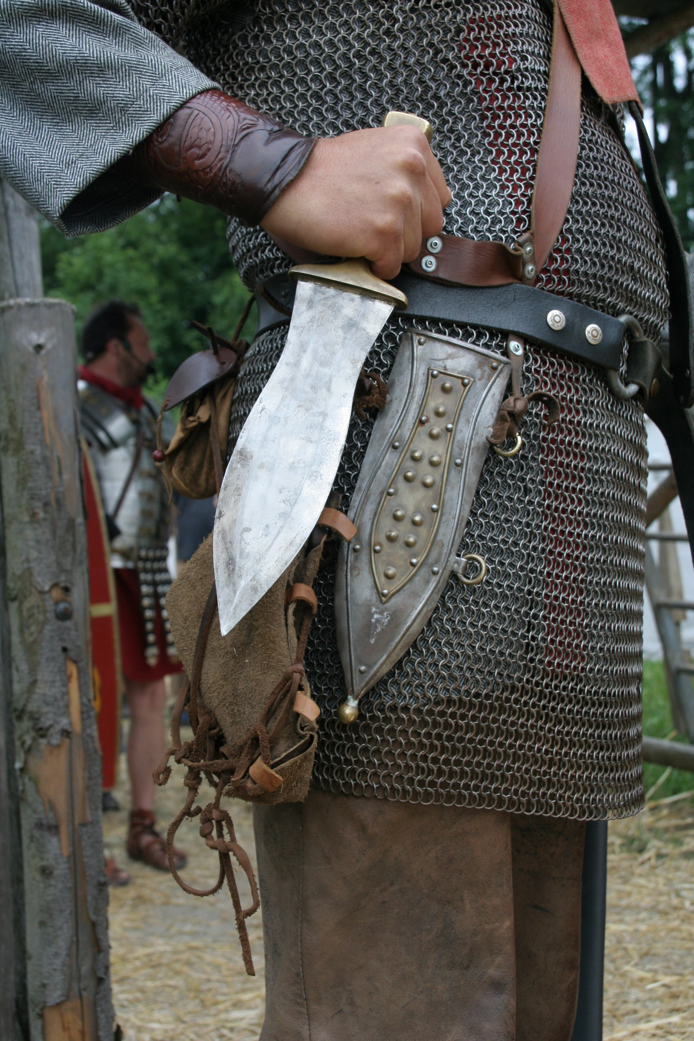 Reconstruction of a pugio: a Roman soldier from a northern province.