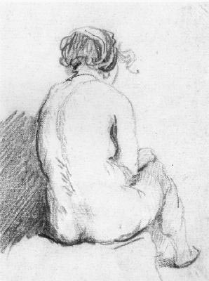 Sitting woman, 17th century figure drawing in ...