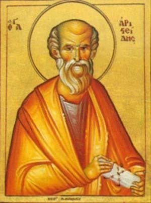ícone bizantino representando Santo Aristides ...
