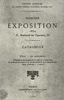 Cover Catalogue First Exhibition Société anonyme 1874