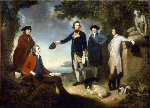 Captain James Cook, Lord Sandwich, Daniel Solander and John Hawkesworth writing the world through their scientific research and publications.