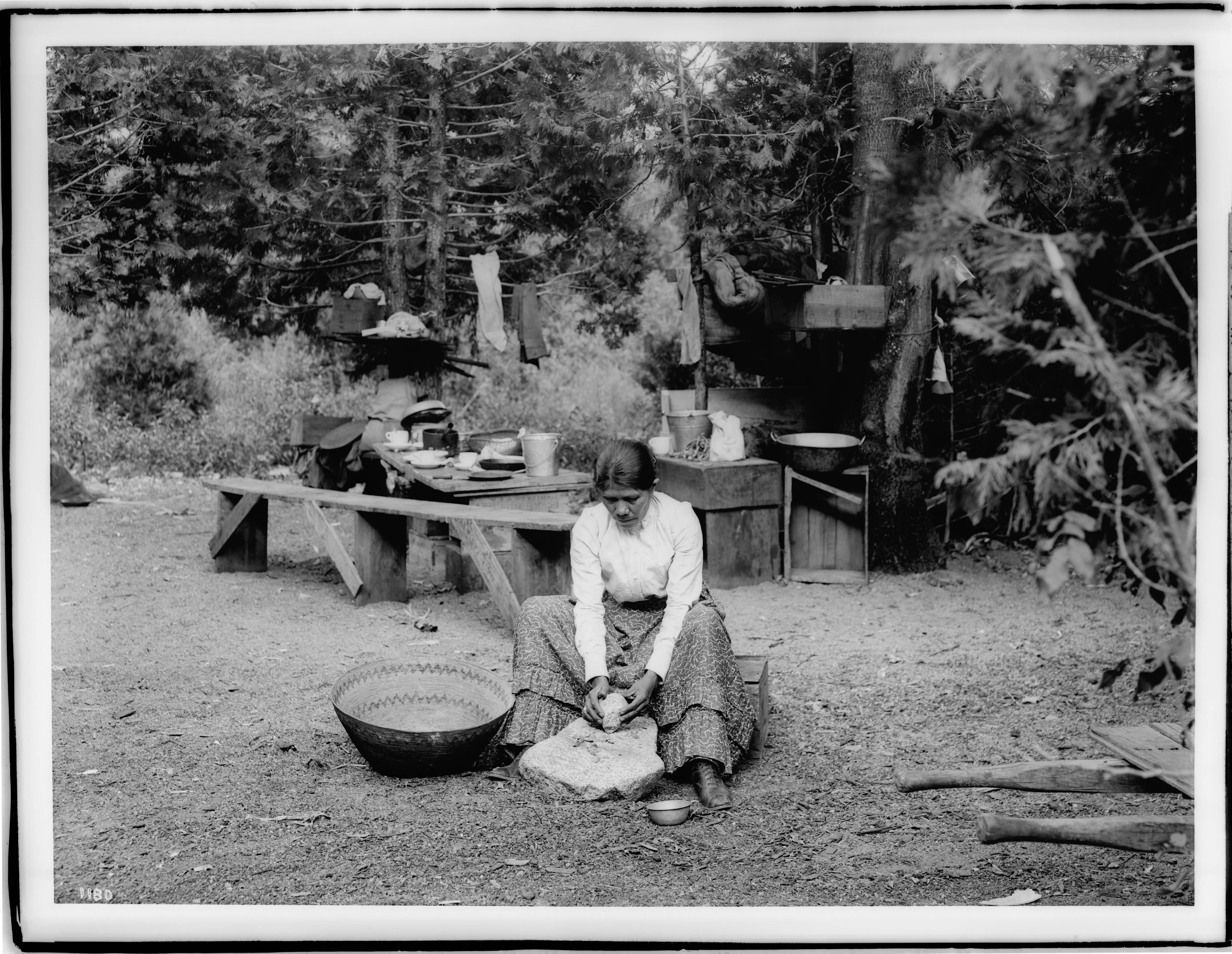 FilePaiute Indian Woman Sitting On A Small Wooden Crate