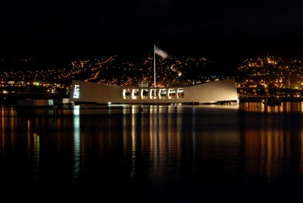 night view of the USS Arizona Memorial