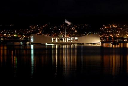 night view of the USS Arizona Memorial