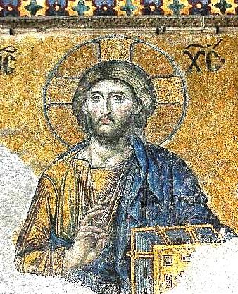 "Adam Carr, Photo of Christ in Hagia Sofia.Ο Χριστός, κεντρική μορφή της ""Δέησης"". Περιβάλλεται από τον Αγ. Ιωάννη τον Πρόδρομο και την Παναγία. Στο Ν. μέρος του υπερώου."