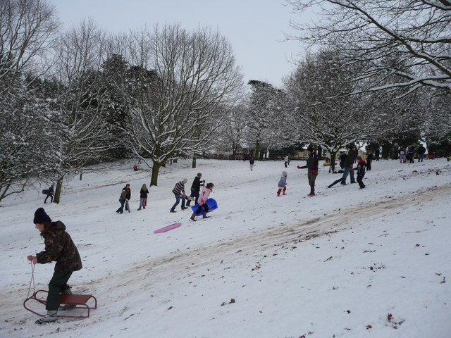 English: Tiverton : Sledging on the Hillside T...