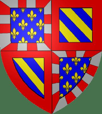 Armas dos duques da Borgonha, incluindo a flor de lis de Valois e as listas dos Capetos (Wikipedia).