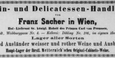 Franz Sacher 1865 Vienna