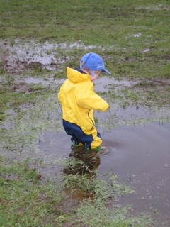 Child enjoys a puddle in Vancouver, B.C., Canada.