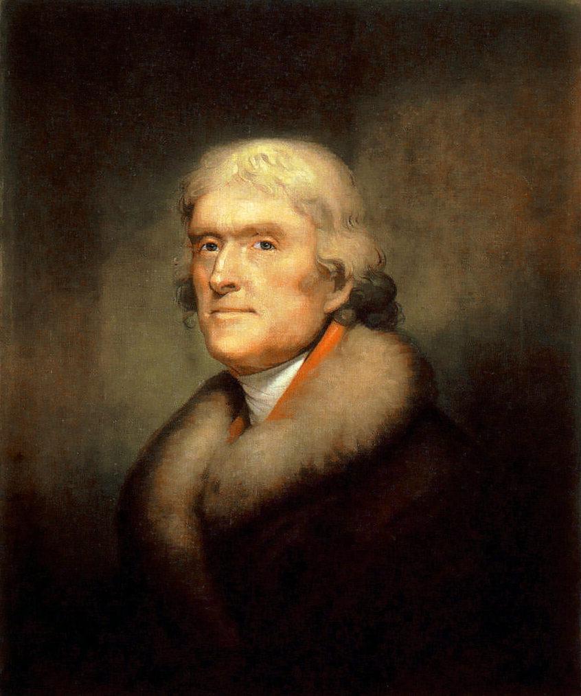 Thomas Jefferson portrait by Rembrandt Peale (1805).