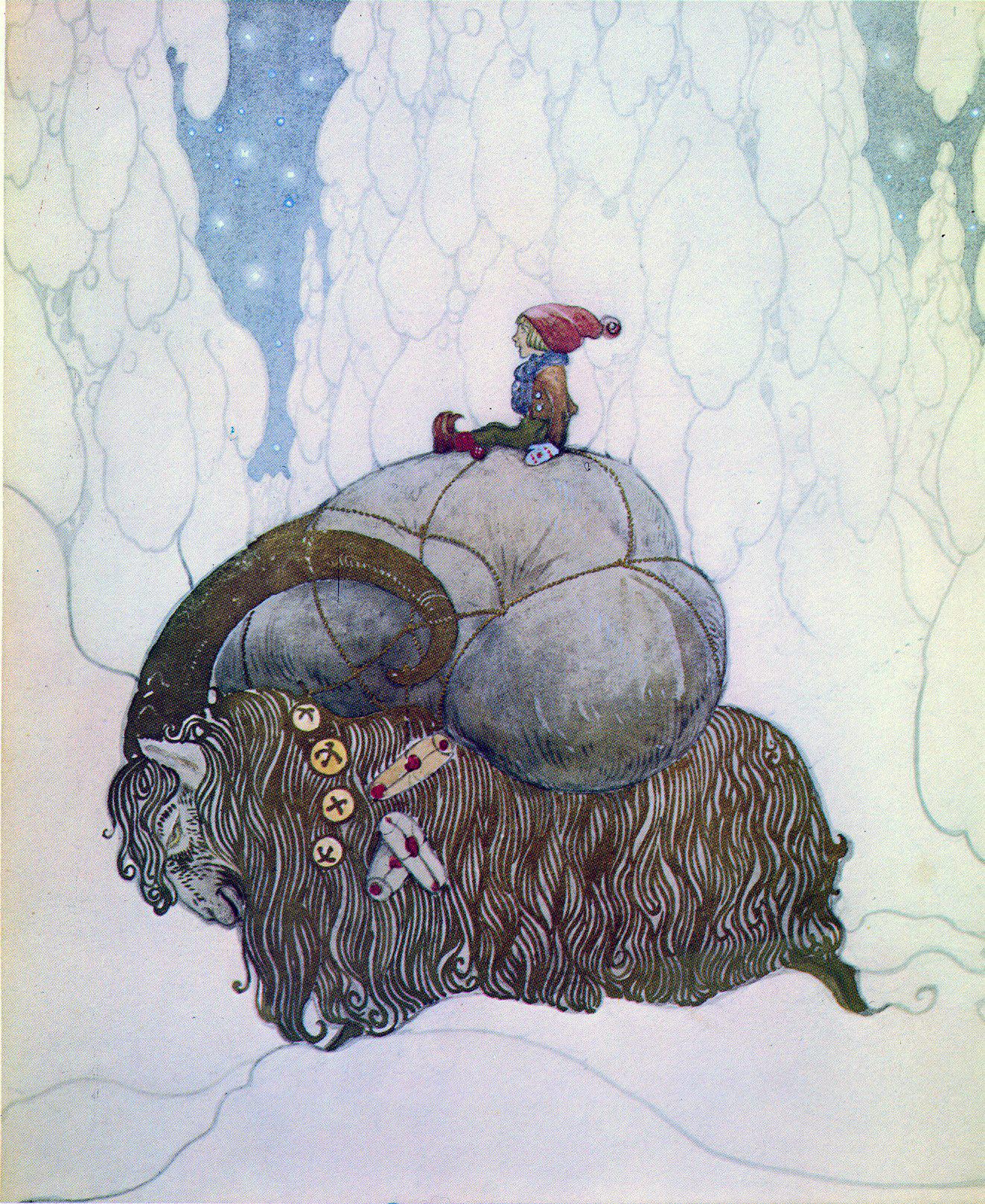 Een kerstbok met tomte van John Bauer