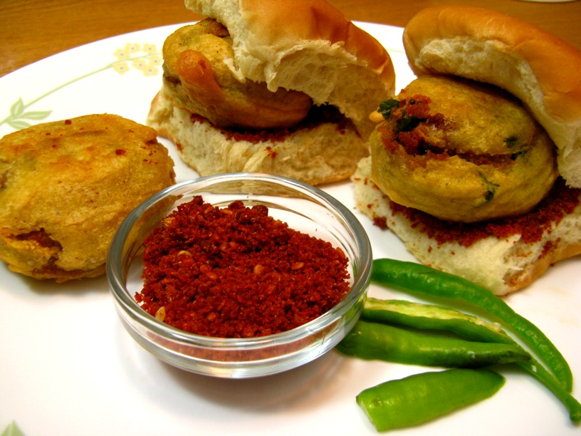 Vada pav is a vegetarian fast food dish native to the Indian state of Maharashtra
