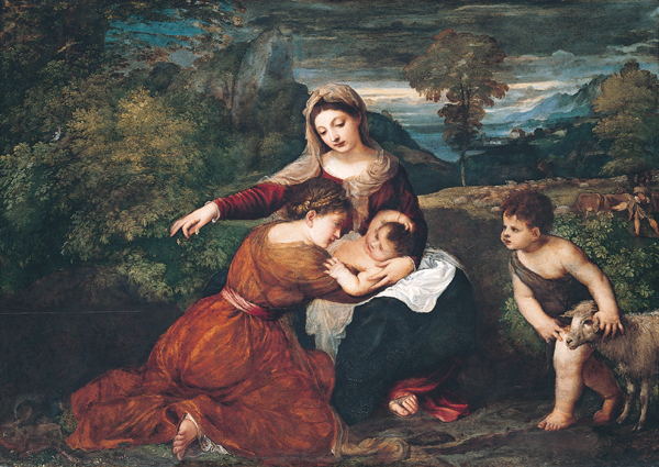 File:'The Madonna and Child with a Female Saint and the Infant Saint John the Baptist', oil on panel painting by Titian.jpg