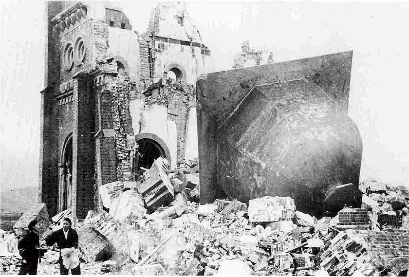 Iglesia Católica de Nagasaki destruida por la bomba atómica estadounidense