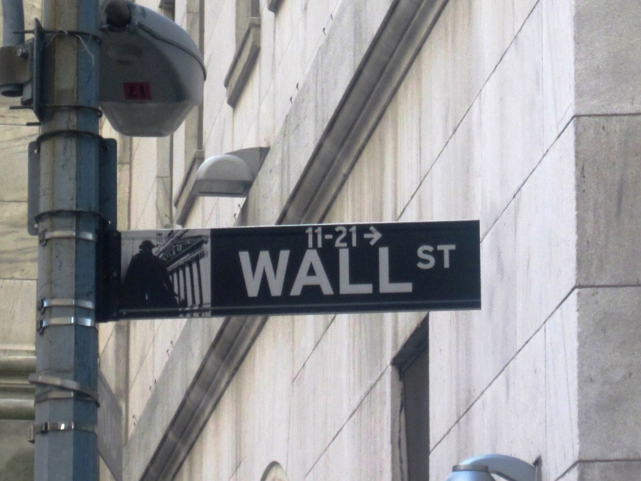 Photo of road-sign pointing to Wall Street