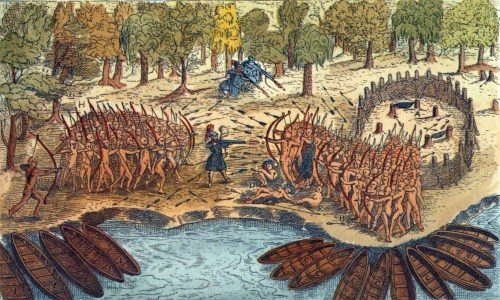 Французы выступают на стороне алгонкинов против ирокезов. Рисунок 1613 г. Из фонда wikimedia