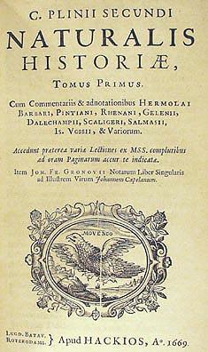 Naturalis Historia, 1669 edition, title page. ...