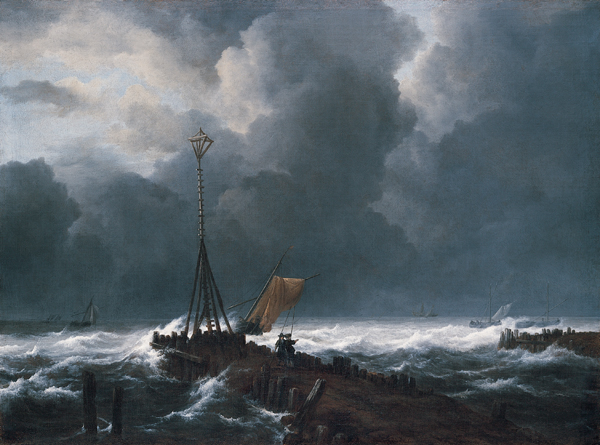 Jacob Van Ruisdael, 1652, Mar picada junto a un espigón.